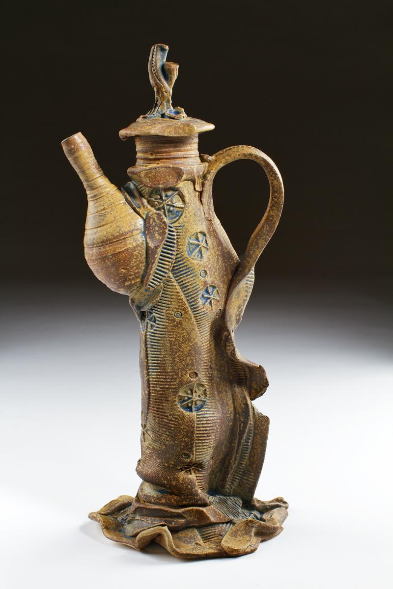 """Sculptural stoneware teapot by Wayne Cardinalli. 17.5"""" x 6"""" x 8.5"""""""